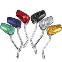 Universal 8mm Motorcycle Skeleton Skull Hand Rear View Side Mirrors 6 Colors