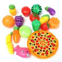 Kids Baby 19pcs a Set Funny Mini Simulation Kitchen Food Play Safety Toys Pizza Cutting Vegetable Fruit Gift