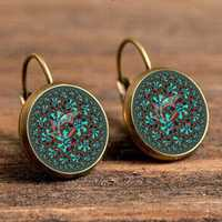 Bohemian Green Flower Earrings