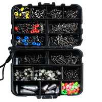 ZANLURE 177pcs Fishing Accessories Kits Hooks Swivels Sinker Stoppers Sequins With Fishing Box