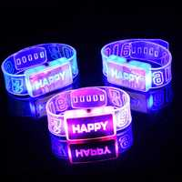 2016 Happy LED Wristband Bracelet Glowing Happy Wristband Dance Party Decoration