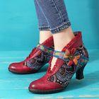 Acheter au meilleur prix SOCOFY Vintage Lace Hook Loop Genuine Leather Ankle Boots