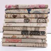 Cartoon Pattern Cotton Linen Fabric Cloth Patchwork For DIY Table Bedding Curtain