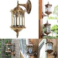 Outdoor Bronze Antique Exterior Wall Light Fixture Aluminum Glass Lantern Garden Lamp