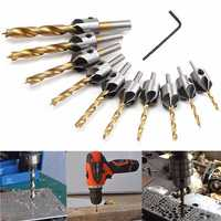 3-10mm HSS 5 Flute Countersink Drill Bit Set Carpentry Reamer Woodworking Chamfer Drill Bit