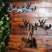 Vintage Cast Iron Deer Antlers Wall Hooks Strong Coat Towel Clothes Hat Key Hanger Holder For Gift Home Decoration