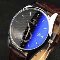 YAZOLE 306 Men Fashion Casual Luminous Hands Calendar Leather Quartz Watch
