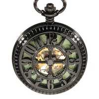 DEFFRUN Vintage Skeleton Mechanical Luminous Pocket Watch