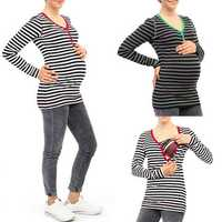 Women Striped Long Sleeve Breastfeeding Clothing Tops