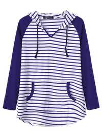 Casual Women Casual Loose V-Neck Hooded Striped Blouse