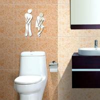 3D Mirror Acrylic Silver Wall Sticker Decal Bathroom Toilet DIY Square Mirror Sticker