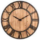 Prix de gros Loskii Creative Round Silent Wooden Wall Clock Decorative Clock for Living Room Home Decorations
