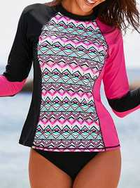 Sun Protection Patchwork Surf Swimwear