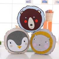 Cute Round Animal Lion Penguin Brown Bear Throw Pillow Cotton Cloth Sofa Car Bed Cushion