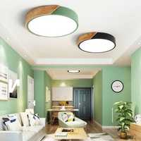 18W Ultra-thin Ceiling Light Colorful Round Acrylic LED Wood Room Ceiling Lamp