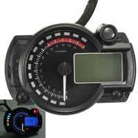 Universal Motorcycle Motor Bike LCD Digital Speedometer Odometer Tachometer 2-4 Cylinder
