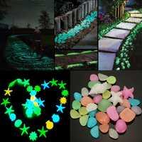 50pcs Glowing Artificial Pebbles Stones Garden Path Flower Pot Decor Landscape Noctilucent Stone