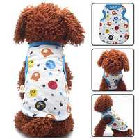 3 Color Cartoon Print Pet Costume Dog Cat Sleeveless Coat Vest Clothes For Summer Cool Small Dogs Vests Shirts Clothing Apparel