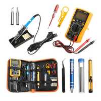 Handskit 220V 60W Temperature Electric Solder Iron Multimeter Tools Kit with 8 in1 Screwderiver Wire Cutter Desoldeirng Pump