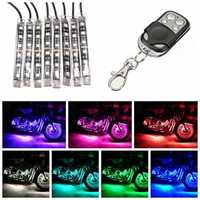 8 Strip RGB LED Kit Motorcycle Sport Bike Remote Multi Color Light Glowing