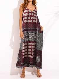 Sexy Women V-Neck Spaghetti Strap Patchwork Maxi Dress