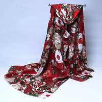 Women Ladies Peony Flower Printed Cotton Scarves Floral Tassel Warm Long Shawls