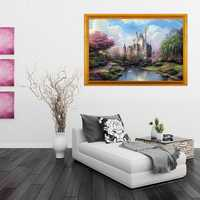 Digital Oil Painting Castle DIY Oil Painting By Numbers Kits Tower Frameless Canvas Home Wall Decor 40x50cm