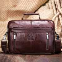 Men Genuine Leather Business Tote Briefcases Crossbody Bag