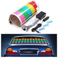 90 x 25cm Sound Rhythm Activated Car Sticker LED EL Sheet Music Light Colorful Flash