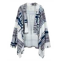 Women Casual Stripe Printing Long Sleeve Irregular Cardigan