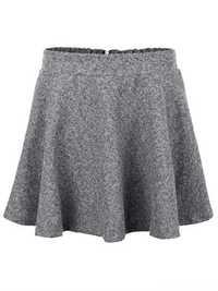 Elegant Women Warm Solid A-Line Back Zipper Pleated Woolen Skirt