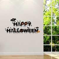 Horrible Hallowen Crow Glass Window Decor Wall Sticker Party House Home Decoration Creative Decal DIY Mural Wall Art Sticker