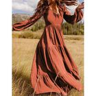 Promotion Women Retro Solid Color Back Zipper Puff Sleeve Loose Casual Maxi Dress