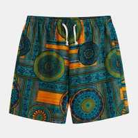 Mens Ethnic Pattern Printed Breathable Summer Casual Shorts