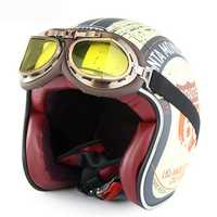 Soman Motorcycle Scooter Half Face Retro Vintage Helmet+Goggles Combination Suit