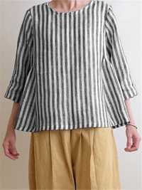 Crew Neck Cotton Striped Blouse