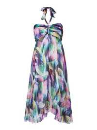 Women Halter Multicolor Feather Printed Beach Chiffon Dresse