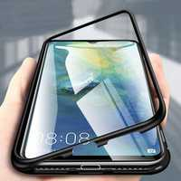 Bakeey 360° Magnetic Adsorption Flip Metal Tempered Glass Protective Case for Huawei Mate 20