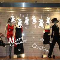 Merry Christmas Wall Sticker Bell Snowflake Xmas Window Wall Sticker