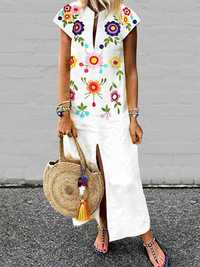 Women Bohemian Floral Print V-neck Short Sleeve Dress