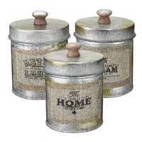 3PCS Vintage Shabby Metal Lid Storage Tank Kitchen Candy Nuts Bottles Crafts Jar