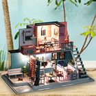 Prix de gros Handmade 3D Wooden Miniatures Doll House Pink Cafe Dollhouse Furniture Diy Miniature Toys for Girls Birthday Gifts