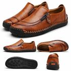 Acheter Fashion Men's Leather Casual Zipper Shoes Breathable Antiskid Loafers Moccasins