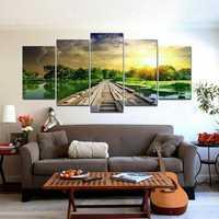5Pcs Modern Art Printing Lake Landscape Poster Canvas Painting Home Wall Decor