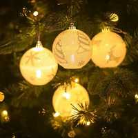 Snowflake Star Elk Printing Light Ball Christmas Tree Hanging Ornaments Party Decorations for Home