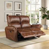PU Leather Reclining Loveseat Living Room Recliner Gliding Loveseat Sofa Chair Leather Sofa