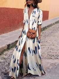 Women V Neck Short Sleeve Floral Printed Maxi Dress
