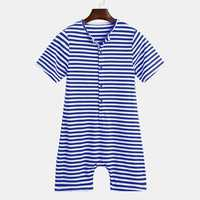 Mens Cotton Striped Buttons Fly Pajamas Jumpsuit