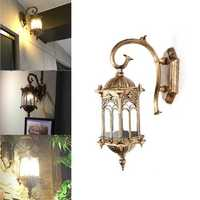 E27 Outdoor Assembled Aluminum Lantern Wall Light Fixture Garden Porch Lamp