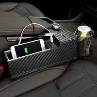 USB Charger Car Seat Crevice Storage Box Seat Gap Filler Organizer Catcher Box Cup Holder